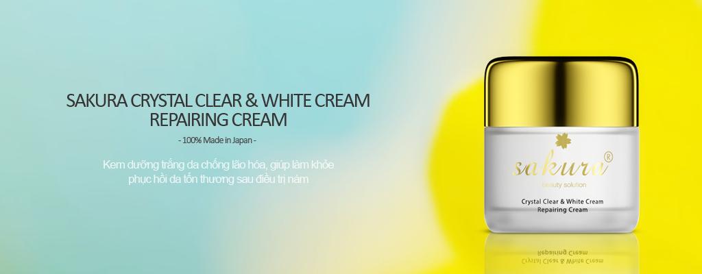 Kem dưỡng trắng chống lão hoá và phục hồi da ban đêm Sakura Crystal Clear & White Cream Repairing Cream