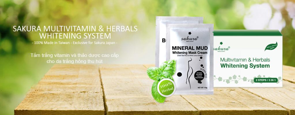 Bộ kem tắm trắng tinh chất Vitamin C và thảo dược Sakura Multivitamin Herbals Whitening System