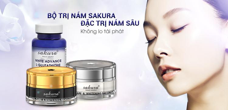 Bộ sản phẩm trị nám thể nặng và dưỡng trắng da cao cấp Sakura