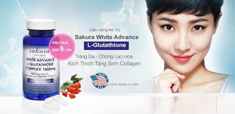 Viên uống trắng da chống lão hoá Sakura White Advance Made In USA
