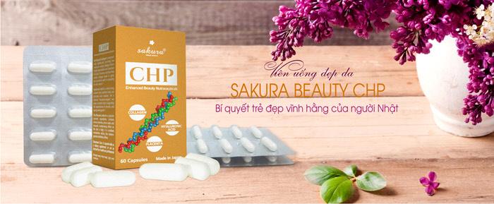 Viên Uống Chống Lão Hóa, Trị Nám, Trắng Da Sakura CHP Enhanced Beauty Nutraceuticals 60 viên
